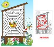 Colmena de la abeja - laberinto para los niños (fáciles) Foto de archivo libre de regalías