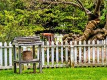 Colmena delante de la valla de estacas blanca y del árbol antiguo Imagenes de archivo