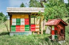 Colmena hecha en casa de la abeja Fotos de archivo libres de regalías