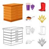 Colmena, uvas, botas, carretilla Iconos determinados de la colección de la granja en la historieta, web del ejemplo de la acción  Imágenes de archivo libres de regalías