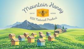 Colmenar de la abeja en el paisaje de las montañas Imágenes de archivo libres de regalías