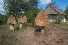 Colmenas de madera antiguas de la abeja Fotos de archivo libres de regalías