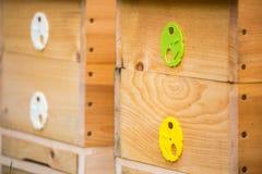 Colmenas de madera de la abeja Imagenes de archivo