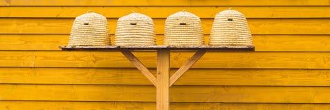 Colmenas del viejo estilo en fondo de madera Foto de archivo libre de regalías