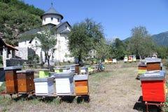 Colmenas e iglesia Imagen de archivo