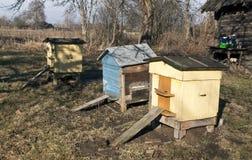Colmenas viejas de la abeja del color en primavera Imagen de archivo