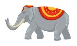Colmillos y ropa del elefante indio con el animal salvaje del ornamento stock de ilustración