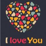 Colo na moda do cartão do dia de Valentim do coração do amor Fotos de Stock