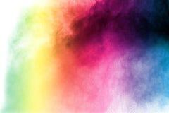 colo powder explosion then splash on white background. stock photo