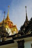 colo van watpaleizen van Azië Thailand Bangkok abstracte dwars Stock Foto's