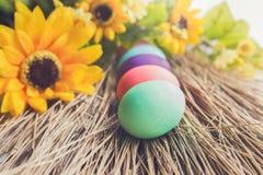 Colocação de ovos da páscoa colorida em uma palha Imagem de Stock