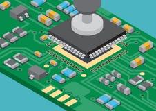 Colocação de superfície de IC da tecnologia da montagem ilustração stock