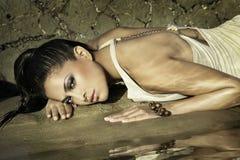 Colocação na areia molhada Foto de Stock Royalty Free