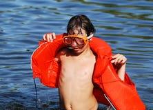 Colocação sobre o colete salva-vidas Imagens de Stock Royalty Free