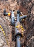 Colocación de la tubería subterráneo Fotografía de archivo