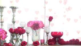 Colocación romántica de la exhibición de la tarjeta del día de San Valentín stock de ilustración