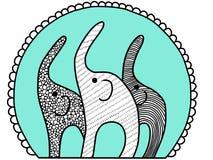 Colocaci?n de los elefantes africanos del ?rbol L?nea ejemplo plana Estilo coloreado de la historieta, aislado en el fondo blanco libre illustration