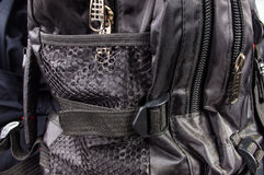 Colocaciones y cremalleras en la mochila Imagen de archivo libre de regalías