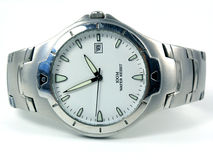 Colocando o relógio de prata do negócio Imagens de Stock