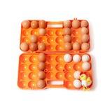 2017 colocaram ovos da galinha no recipiente ao lado à galinha Fotografia de Stock Royalty Free