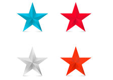 Coloder 3d stars  red star blue silver bronze Stock Image