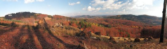 Colofrul autumn panorama of Hostynske vrchy hills Stock Photos