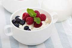 Colofrul healthy breakfast with cottage cheese Royalty Free Stock Photo