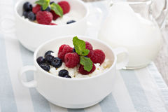 Colofrul healthy breakfast with cottage cheese Royalty Free Stock Photography