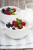 Colofrul healthy breakfast with cottage cheese Stock Photos