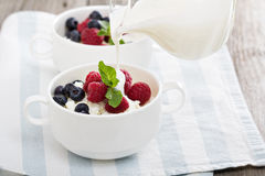 Colofrul healthy breakfast with cottage cheese Royalty Free Stock Photos