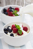 Colofrul healthy breakfast with cottage cheese Royalty Free Stock Images