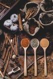 Coloful各种各样的香料和草本在木匙子在自然纹理 库存照片