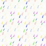 Coloful雨投下无缝的样式 免版税库存图片