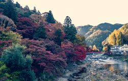 Autumn at Korankei with red bridge . Coloful aun at Korankei with red bridge landmark at Aichi, Toyota city , Japan stock photo