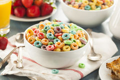 Coloful Fruit Cereal Loops. In a Bowl royalty free stock images