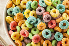 Coloful Fruit Cereal Loops Stock Images