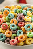 Coloful Fruit Cereal Loops. In a Bowl Royalty Free Stock Image
