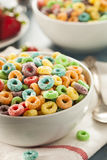 Coloful Fruit Cereal Loops. In a Bowl Stock Image