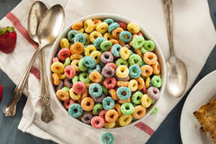 Coloful Fruit Cereal Loops. In a Bowl Stock Images