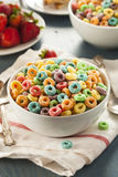 Coloful Fruit Cereal Loops. In a Bowl Royalty Free Stock Photo