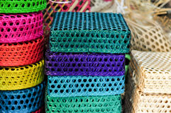 Coloful Handicraft Basket. Colorful Handicraft Weaving Basket Made From Bamboo Rattan Royalty Free Stock Image