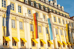 Colorful House and Banners in Munich, Germany Royalty Free Stock Photos