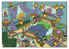 Coloful Illustration Of Naughty Birds And Sleeping Bear In The Morning Stock Image