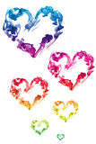 Coloful Ink hearts love. Colorful group of hearts ink royalty free stock photos