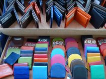 Colorful Italian Leather Wallets and Purses Stock Image