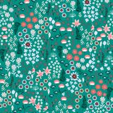 Coloful liberty many kind of Wild flowers pattern. Hand drawn me stock illustration