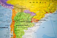 Coloful map of South America. Close up royalty free stock images
