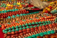 Coloful necklaces made of gemstones Stock Photography