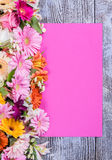 Coloful Postcard Paper Sheet and Flowers Stock Image