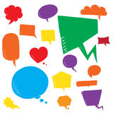 Coloful vector set of talk and think bubles, group of doodle speech bubble on white background Royalty Free Stock Photo